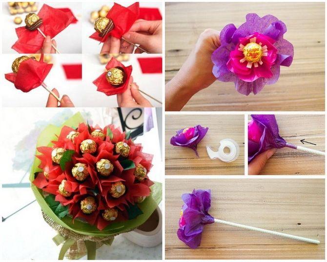 Букет на 8 березня своїми руками: креативні ідеї з паперу, з цукерок, з підручних матеріалів 18