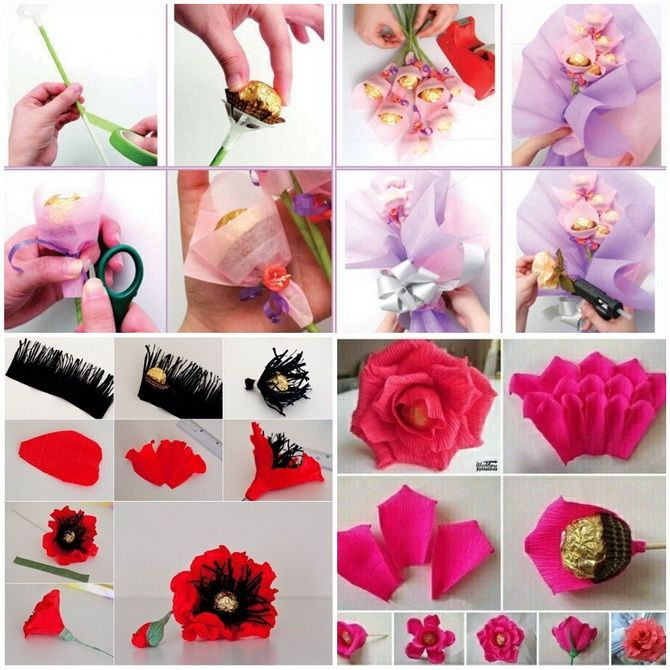 Букет на 8 березня своїми руками: креативні ідеї з паперу, з цукерок, з підручних матеріалів 19