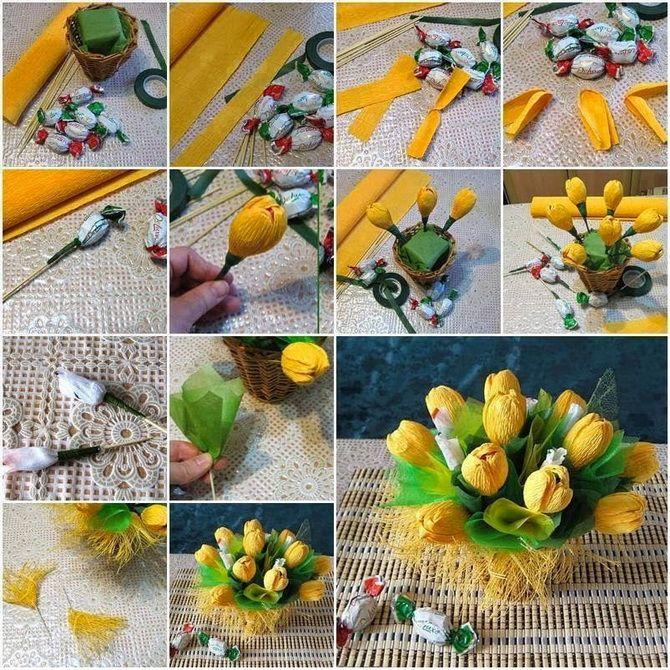 Букет на 8 березня своїми руками: креативні ідеї з паперу, з цукерок, з підручних матеріалів 23