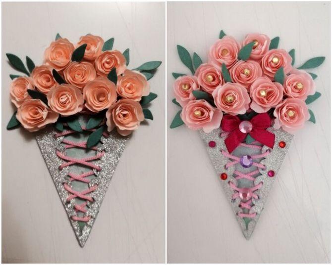 Букет на 8 марта своими руками: креативные идеи из бумаги, из конфет, из подручных материалов 10