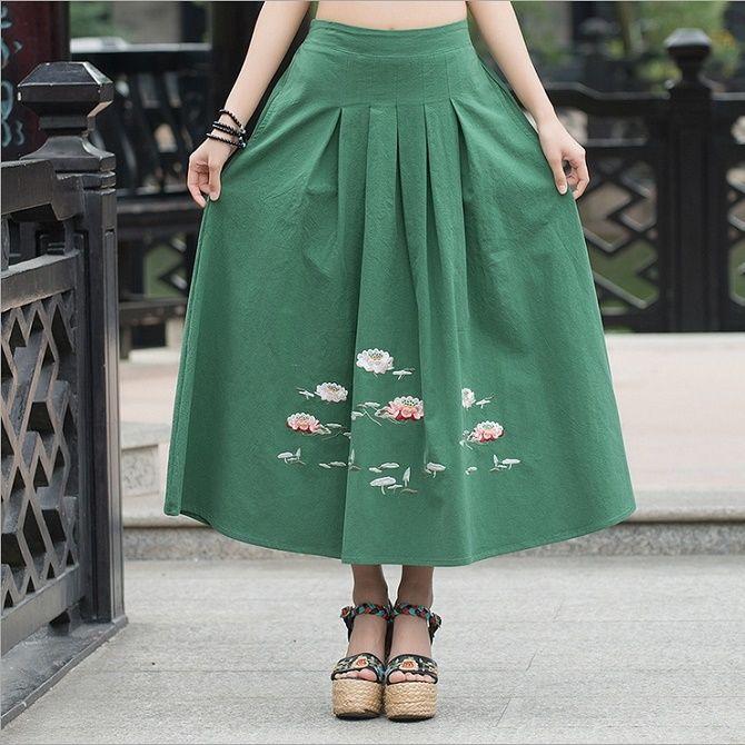 С чем носить льняную юбку – очень необычный образ 17