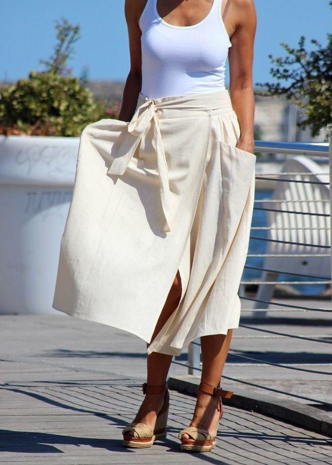 С чем носить льняную юбку – очень необычный образ 20