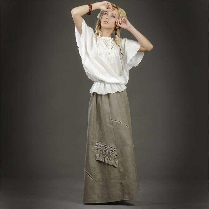 С чем носить льняную юбку – очень необычный образ 12