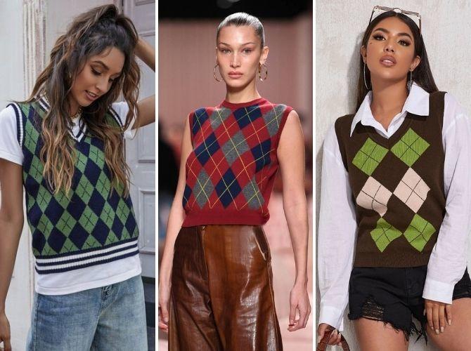 Модний трикотажний жилет в стилі препп: стильні поєднання на весну 2021 1