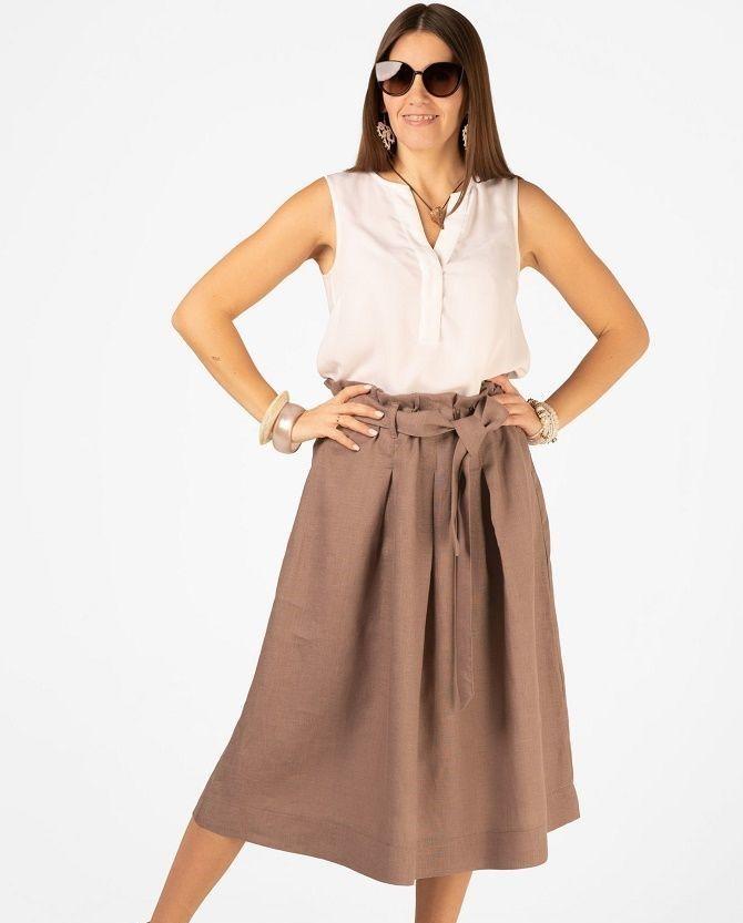 С чем носить льняную юбку – очень необычный образ 2