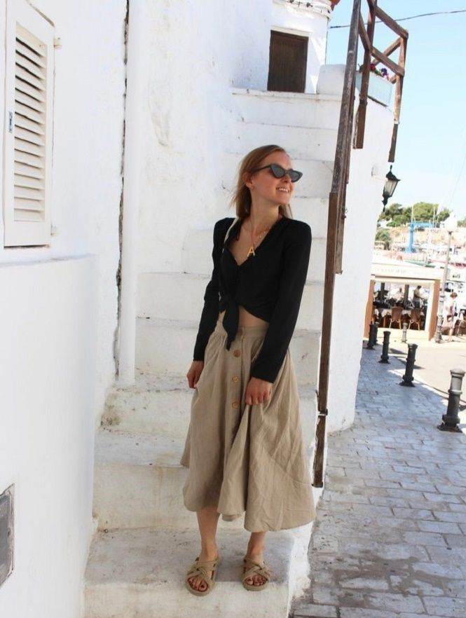 С чем носить льняную юбку – очень необычный образ 6