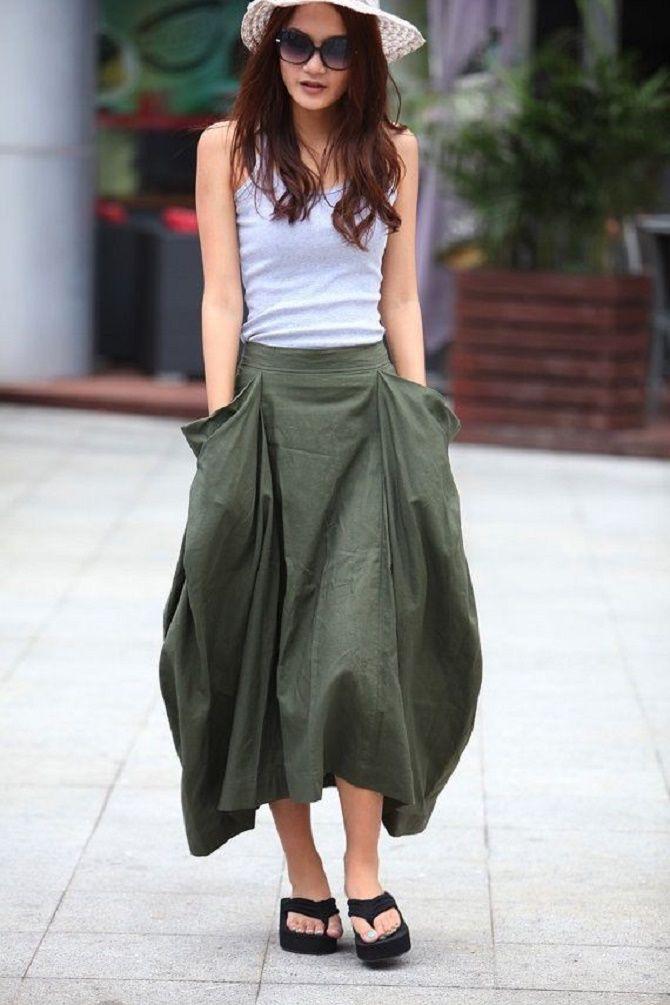С чем носить льняную юбку – очень необычный образ 4