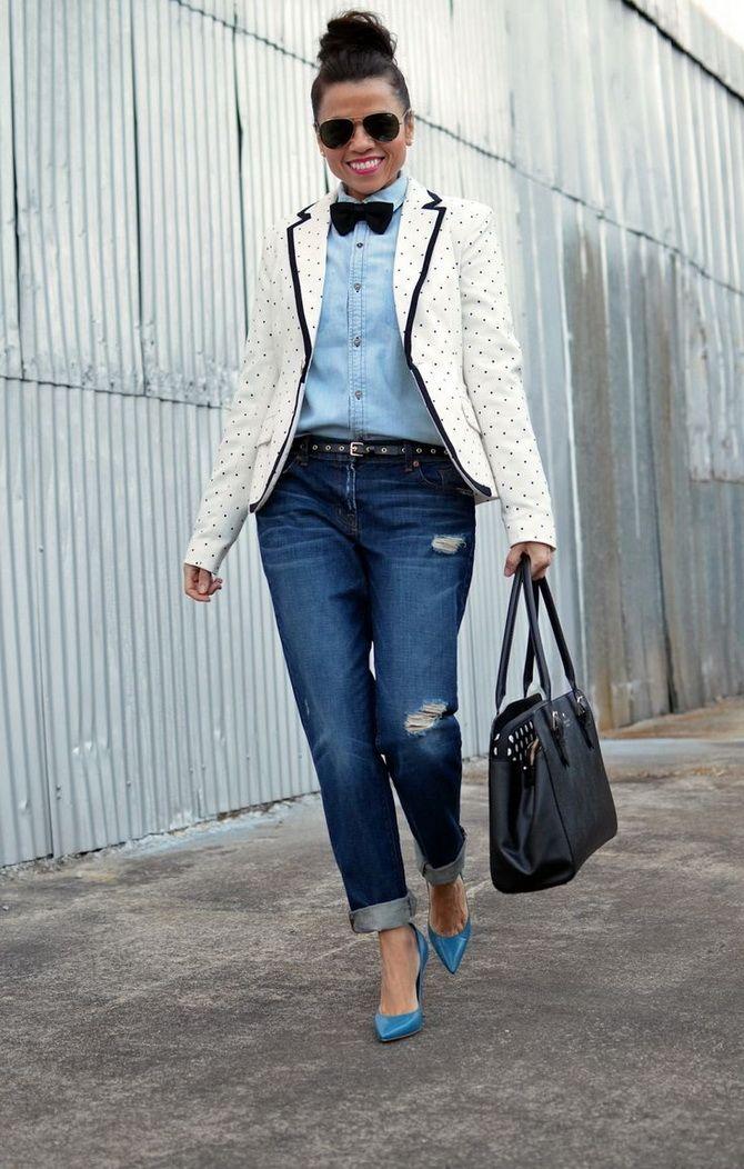 Як носити жіночий піджак з джинсами – модні ідеї 8