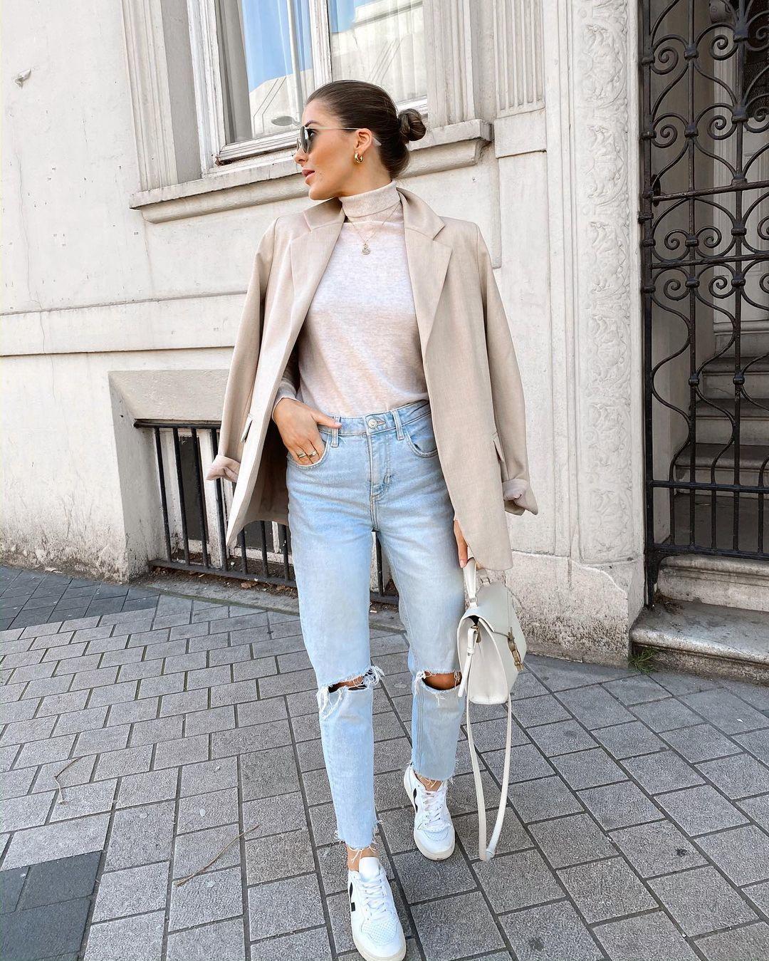 Як носити жіночий піджак з джинсами – модні ідеї 10