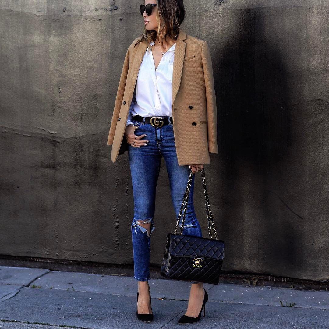 Как носить женский пиджак с джинсами — модные идеи 11