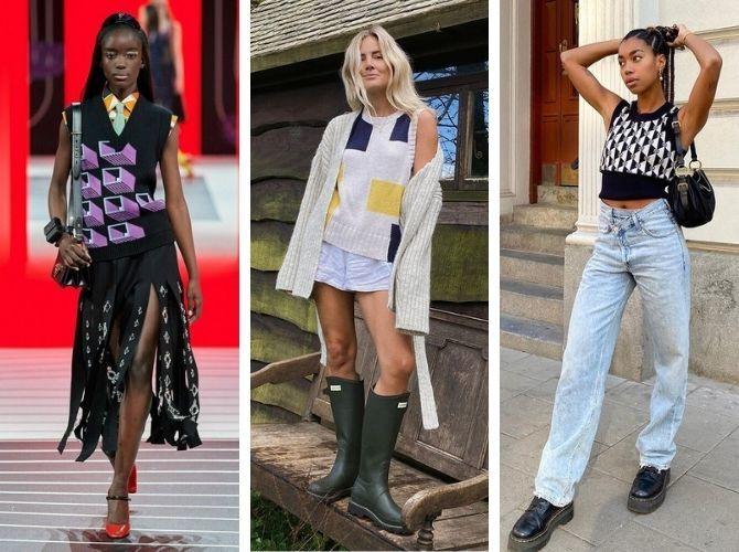 Модний трикотажний жилет в стилі препп: стильні поєднання на весну 2021 3