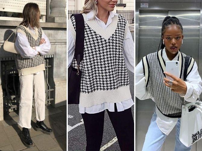 Модний трикотажний жилет в стилі препп: стильні поєднання на весну 2021 2