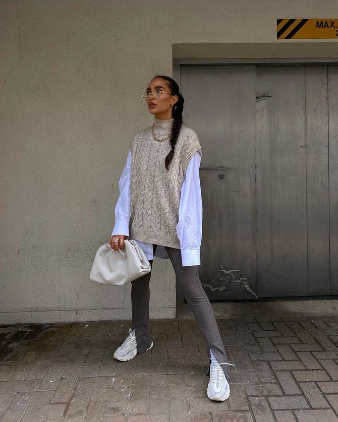 Модний трикотажний жилет в стилі препп: стильні поєднання на весну 2021 14