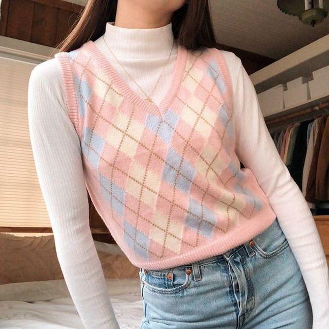 Модний трикотажний жилет в стилі препп: стильні поєднання на весну 2021 24