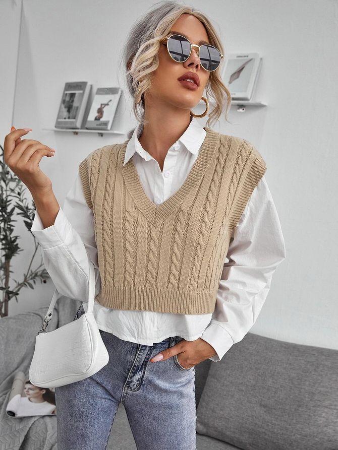 Модний трикотажний жилет в стилі препп: стильні поєднання на весну 2021 8