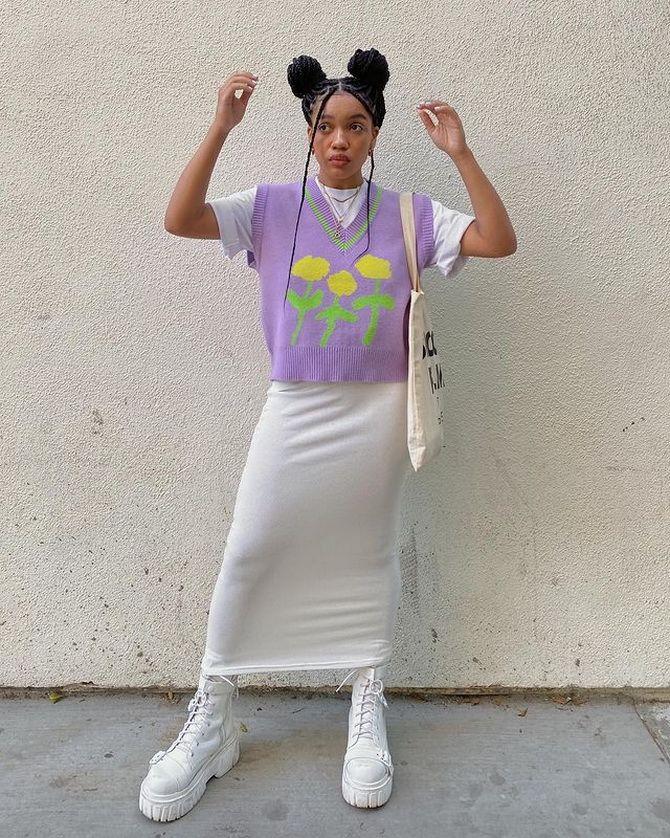 Модний трикотажний жилет в стилі препп: стильні поєднання на весну 2021 18