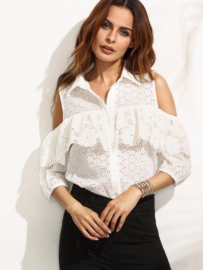 Біла блуза з воланами – найромантичніший тренд сезону весна-літо 2021 10