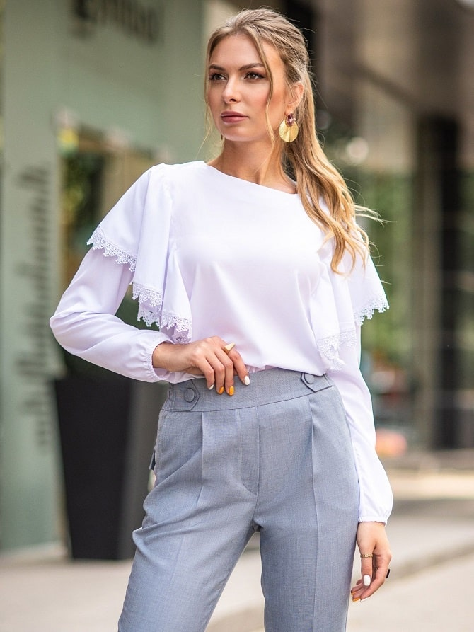 Біла блуза з воланами – найромантичніший тренд сезону весна-літо 2021 15