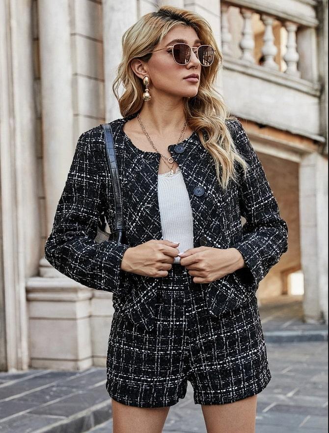 Женский костюм пиджак с шортами: основной летний тренд 6