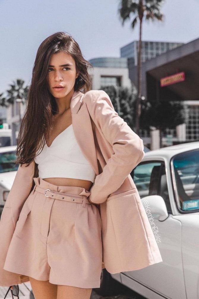 Женский костюм пиджак с шортами: основной летний тренд 7
