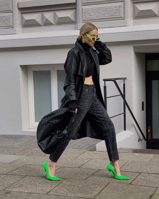 С чем носить зеленые неоновые туфли: яркие луки 7