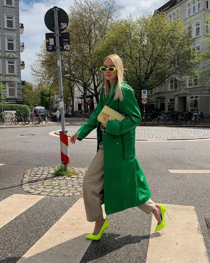 С чем носить зеленые неоновые туфли: яркие луки 1