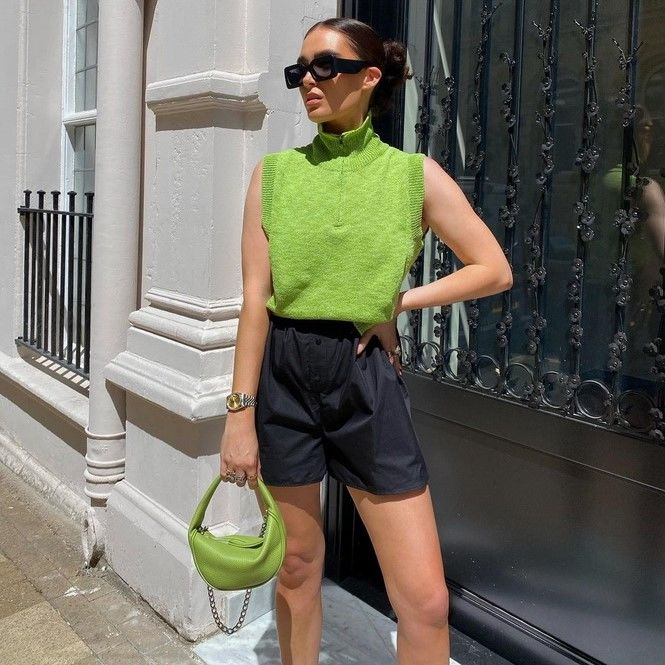 Как носить шорты с завышенной талией — модные советы 15