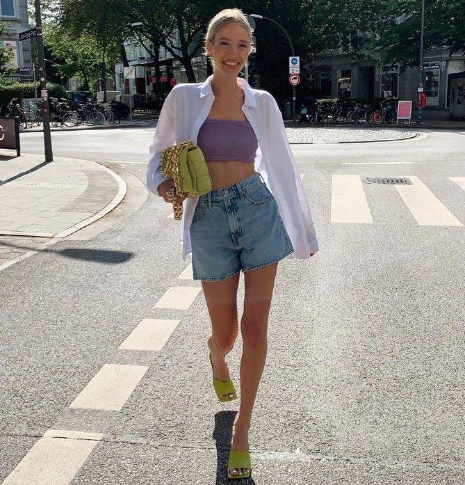 Как носить шорты с завышенной талией — модные советы 8