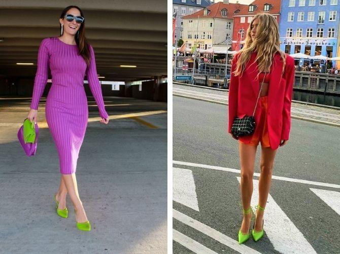 С чем носить зеленые неоновые туфли: яркие луки 14