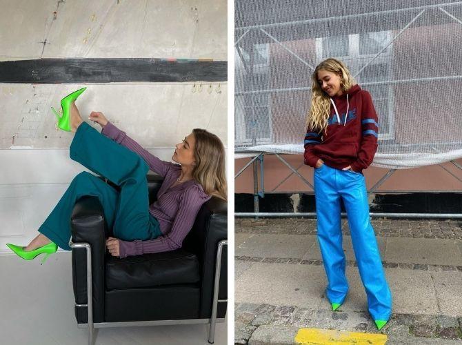 С чем носить зеленые неоновые туфли: яркие луки 15