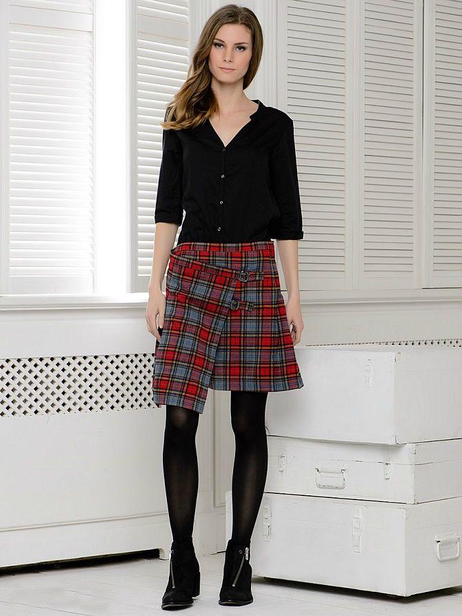 С чем носить модную юбку в клетку: актуальные идеи для модниц 2