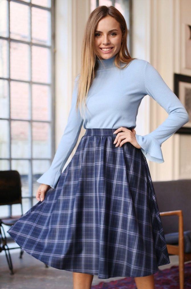 С чем носить модную юбку в клетку: актуальные идеи для модниц 16
