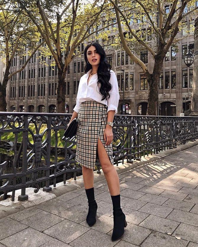С чем носить модную юбку в клетку: актуальные идеи для модниц 20