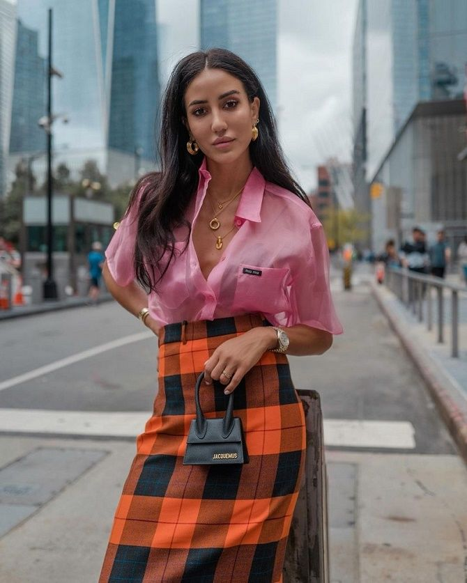 С чем носить модную юбку в клетку: актуальные идеи для модниц 5