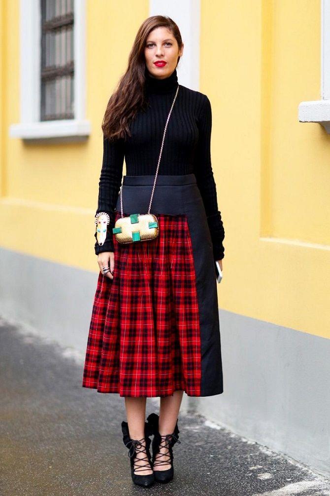 С чем носить модную юбку в клетку: актуальные идеи для модниц 6