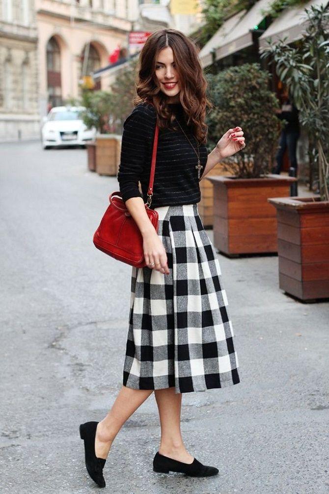 С чем носить модную юбку в клетку: актуальные идеи для модниц 7
