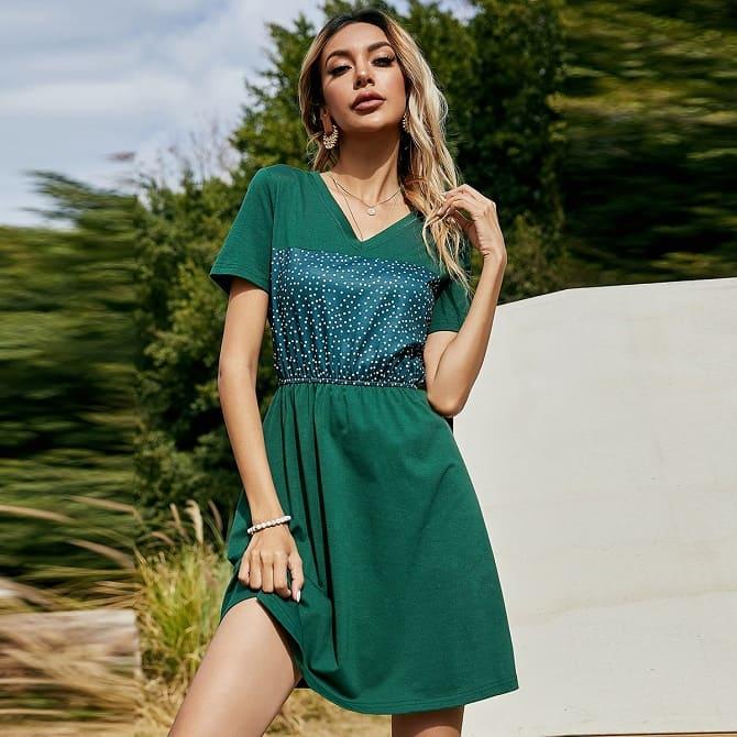 Как носить зеленые платья: модные и необычные образы 15