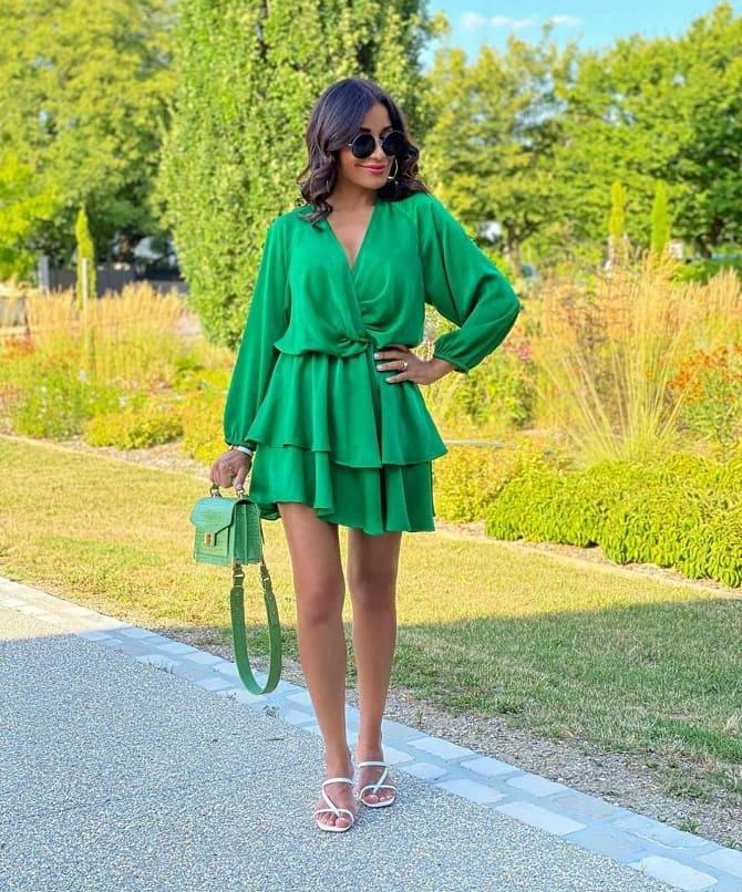 Как носить зеленые платья: модные и необычные образы 3