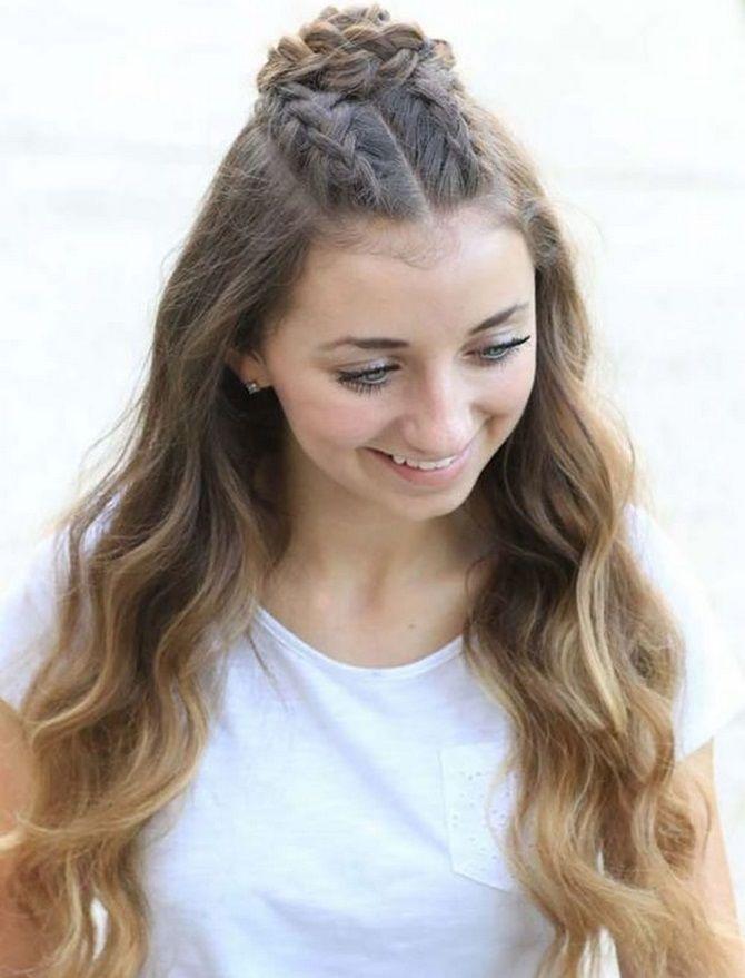 Модные и легкие прически на длинные волосы для девочек в школу: идеи на каждый день 1