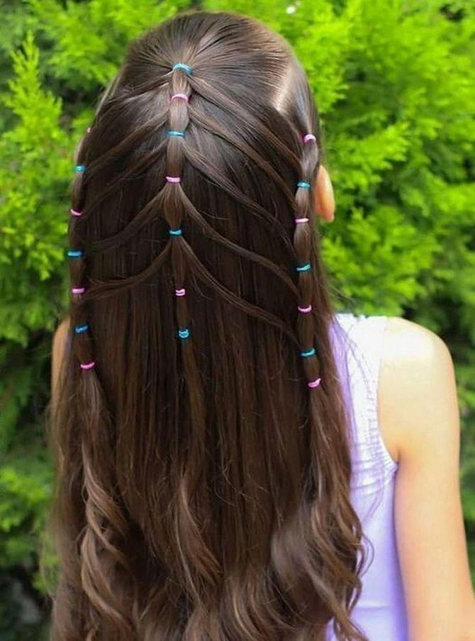 Модные и легкие прически на длинные волосы для девочек в школу: идеи на каждый день 4